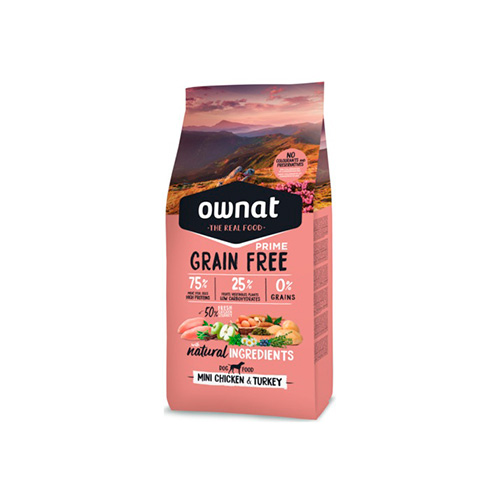 OWNAT GRAIN FREE PRIME CÃO MINI ADULT - CHICKEN & TURKEY