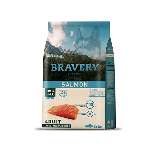 BRAVERY SALMON CÃO ADULT MEDIUM-LARGE (GRAIN FREE)