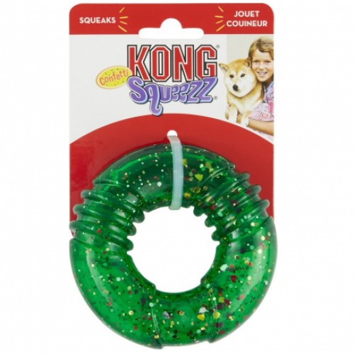 KONG HOLIDAY DOG SQUEEZZ CONFETTI RING TOY
