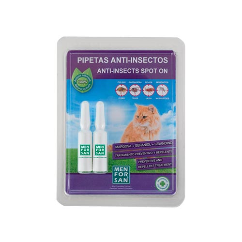 PIPETAS ANTI-INSECTOS NATURAL PARA GATOS - MENFORSAN