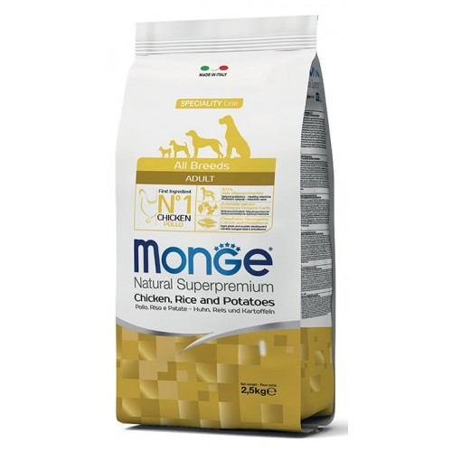 MONGE SPECIALITY LINE ALL BREEDS ADULT CHICKEN,RICE & PATATOES