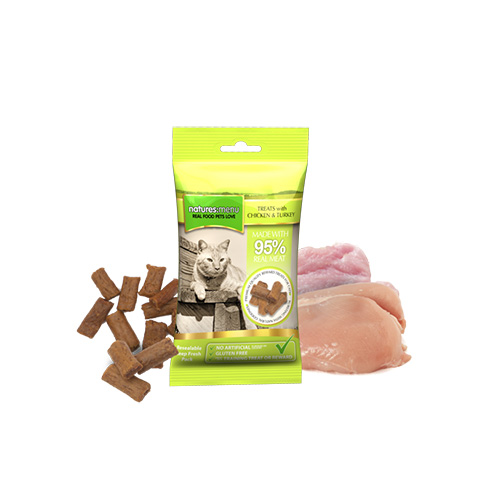 NATURES MENU CAT TREATS - CHICKEN & TURKEY
