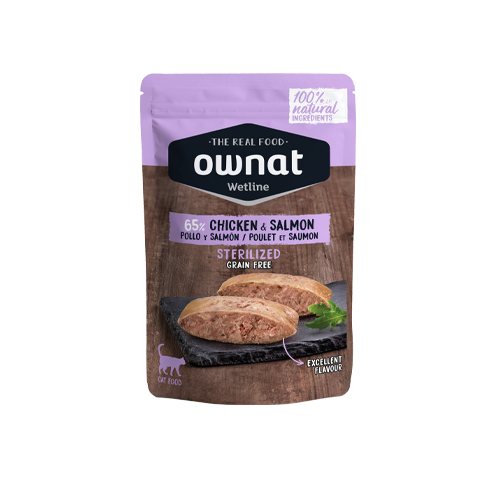 OWNAT WETLINE STERILISED CAT- CHICKEN AND SALMON